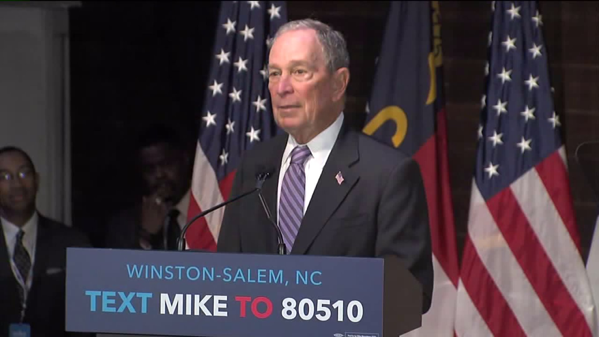 Michael Bloomberg speaks at Footnote Coffee & Cocktails in Winston-Salem on Feb. 13.