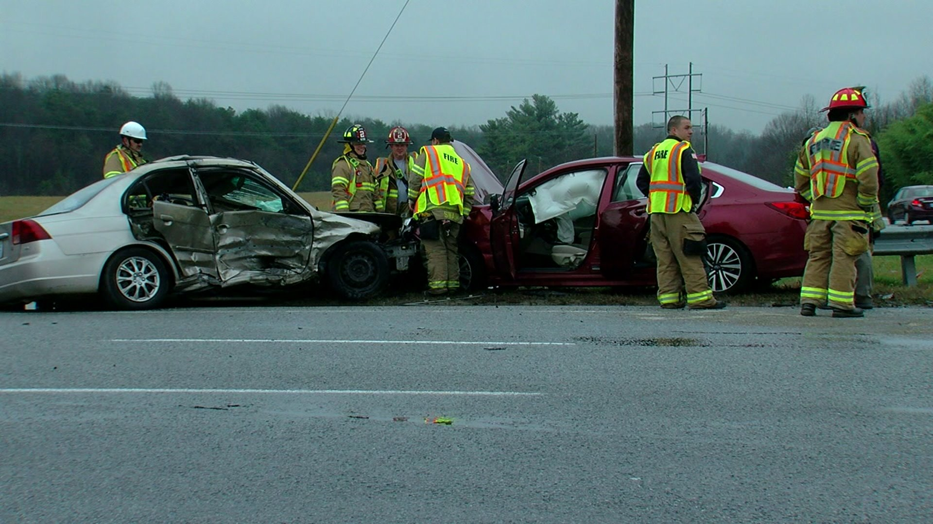 Two cars were involved a crash on US 311 ramp to I-85 Business in High Point. (David Weatherly/WGHP)