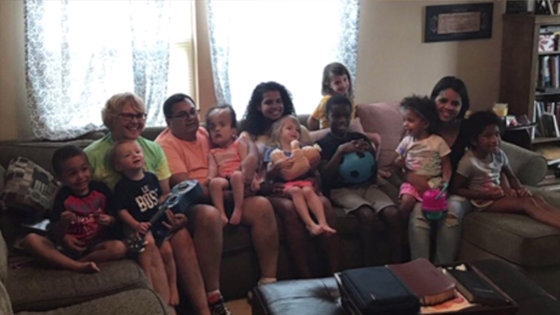 North Carolina couple creates big, happy family with 7 adoptive children.