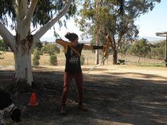 Little Hawk at archery practice