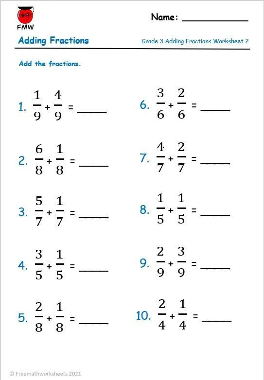 Grade 3 free adding fractions worksheet with same denominator.