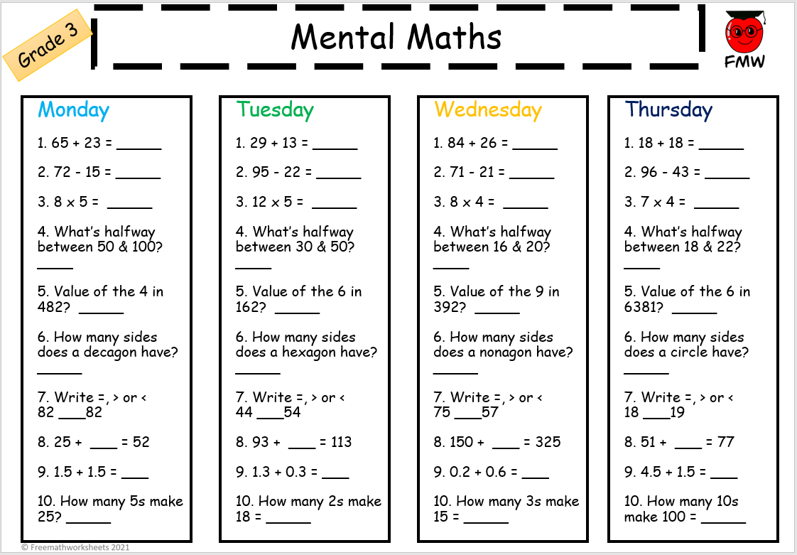Grade 3 Mental Math Worksheets Free Worksheets Printables