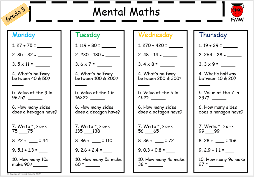 Grade 3 daily mental maths to help students develop their skills in Mathematics.