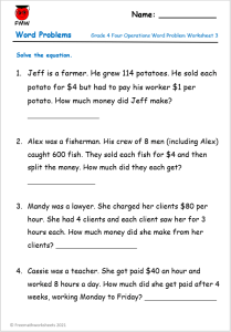 Grade 4 word problems with a focus on the four operations - addition, subtraction, multiplication & division.