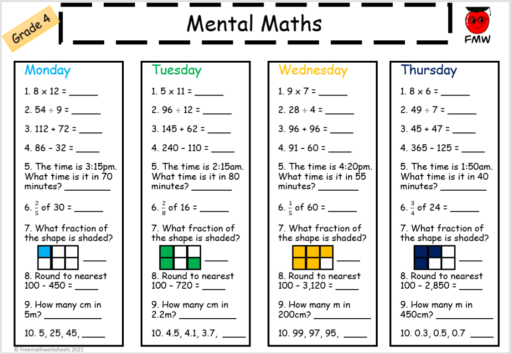 Grade 4 daily mental maths to help students develop their skills in Mathematics.
