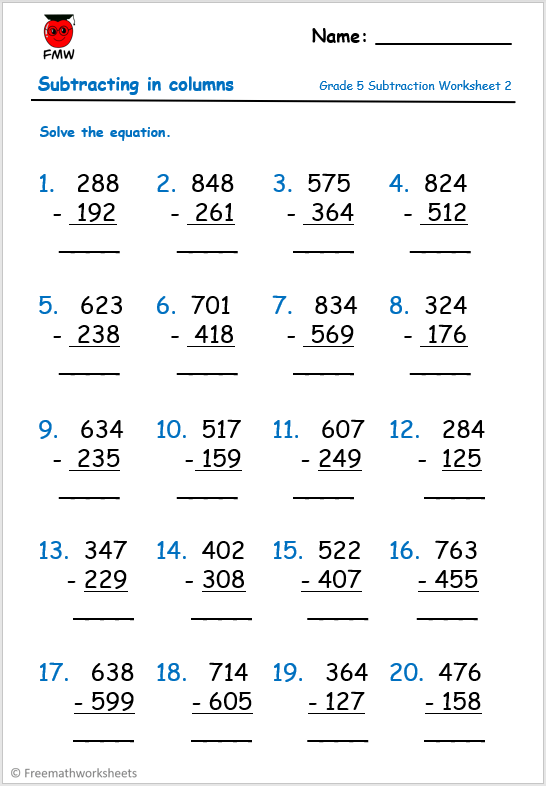 Grade 5 column subtraction worksheet to help students develop their understanding on the four operations.