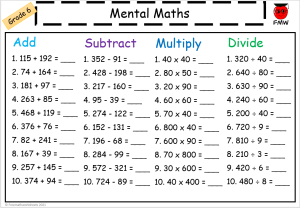 Grade 6 daily mental maths to help students develop their skills in mental maths.