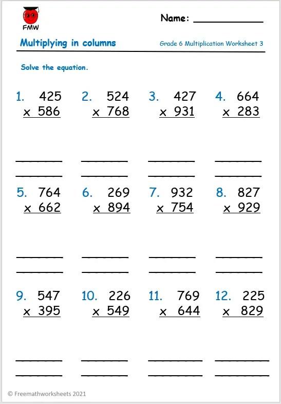 Grade 6 column multiplication worksheet