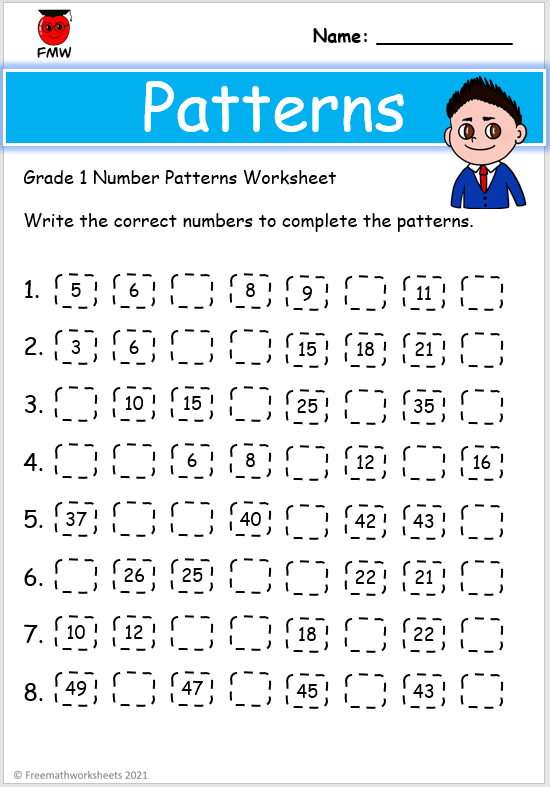 Grade 1 number patterns worksheets