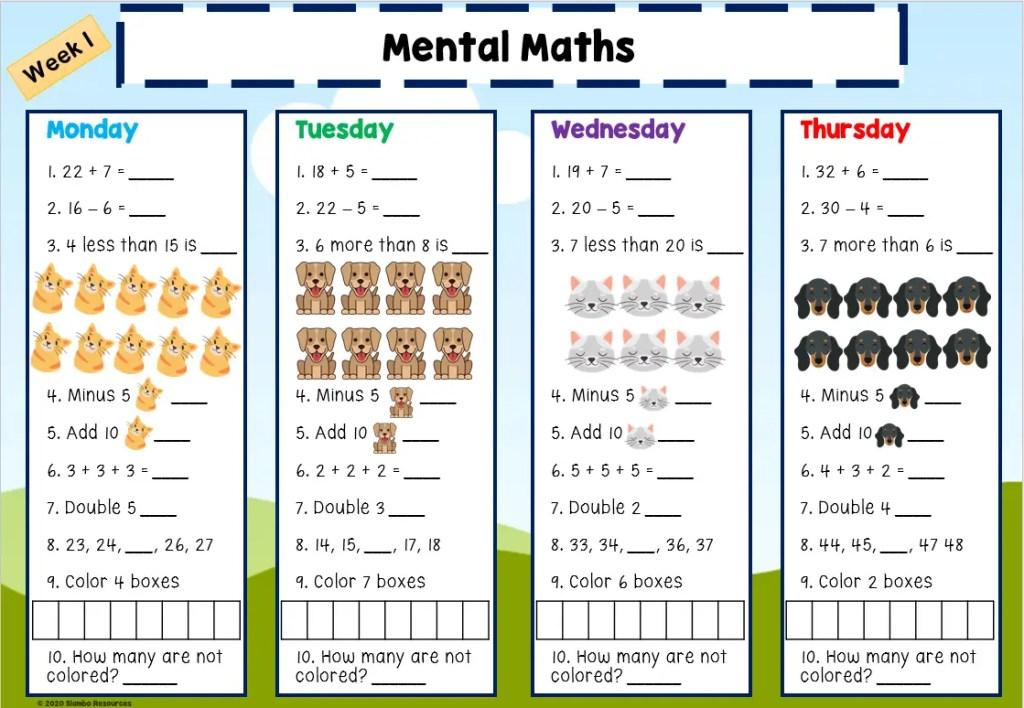 Grade 1 Mental Maths