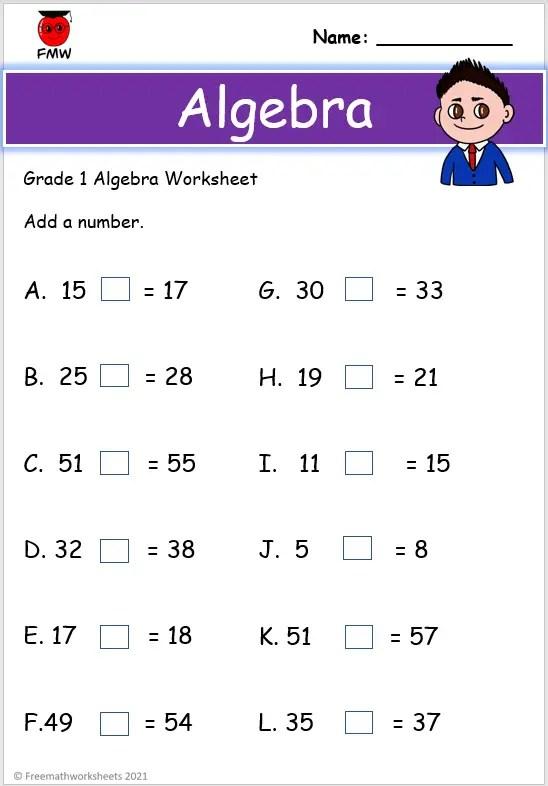 Grade 1 algebra worksheet