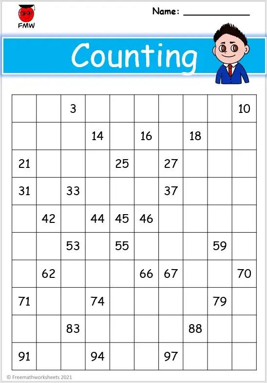 Grade 1 counting worksheet
