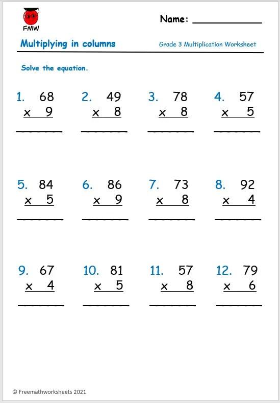 Grade 3 multiplication worksheet