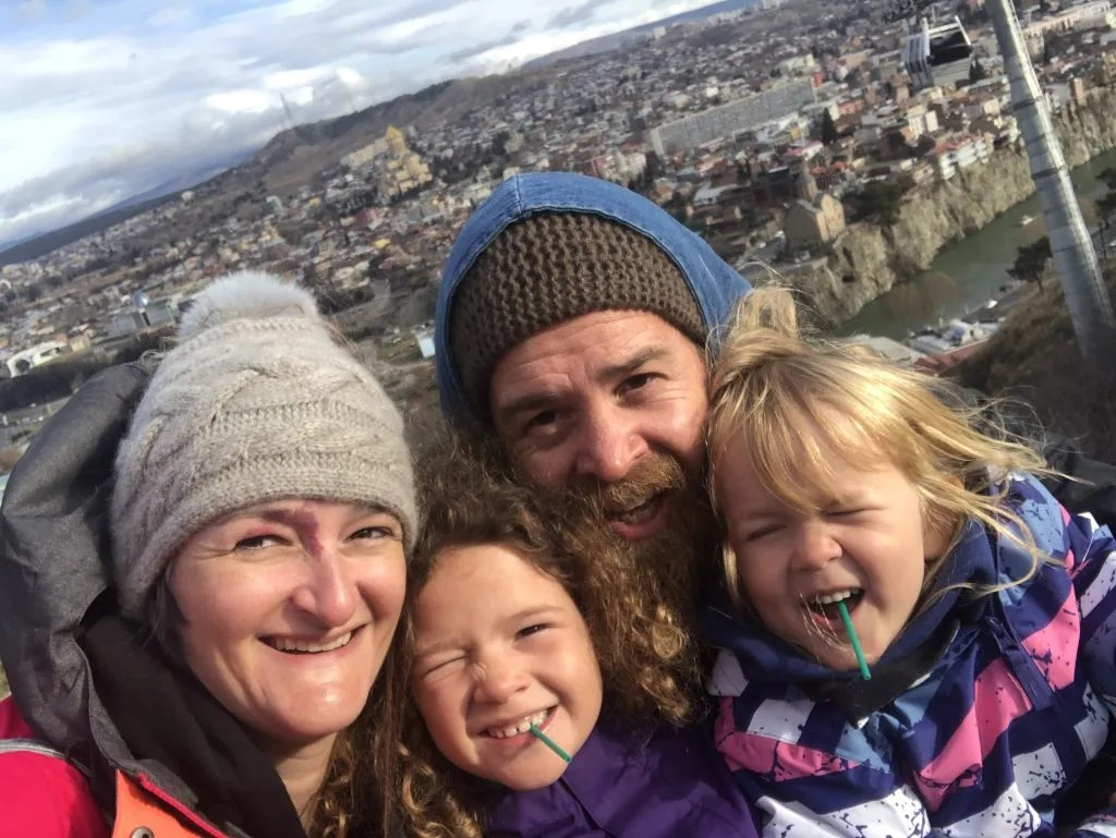 Full-time world travel family.  My Free Range Family, Tbilisi, Georgia