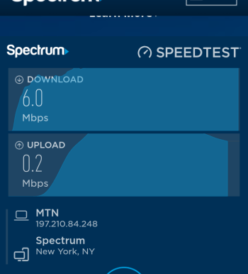 Spectrum internet speed test