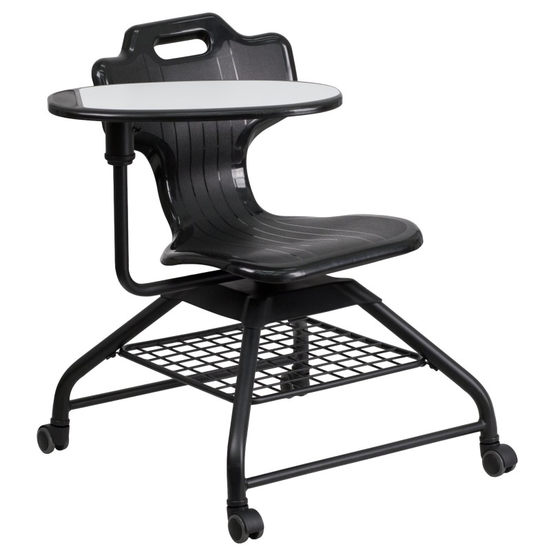 Black Mobile Classroom Chair with Swivel Tablet Arm