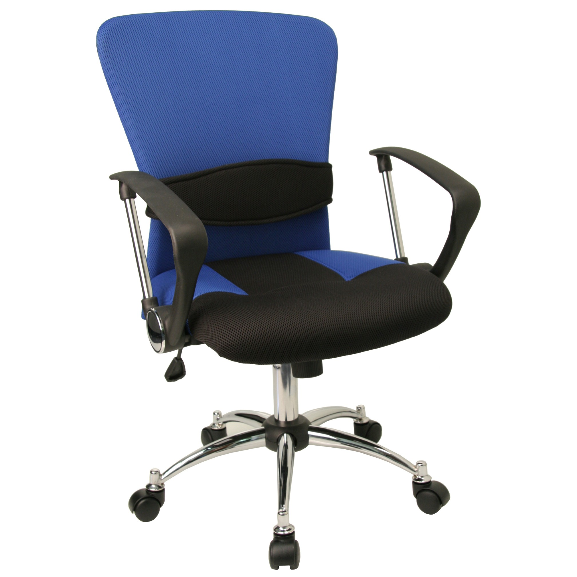 blue office chair living room chairs uk mid back mesh