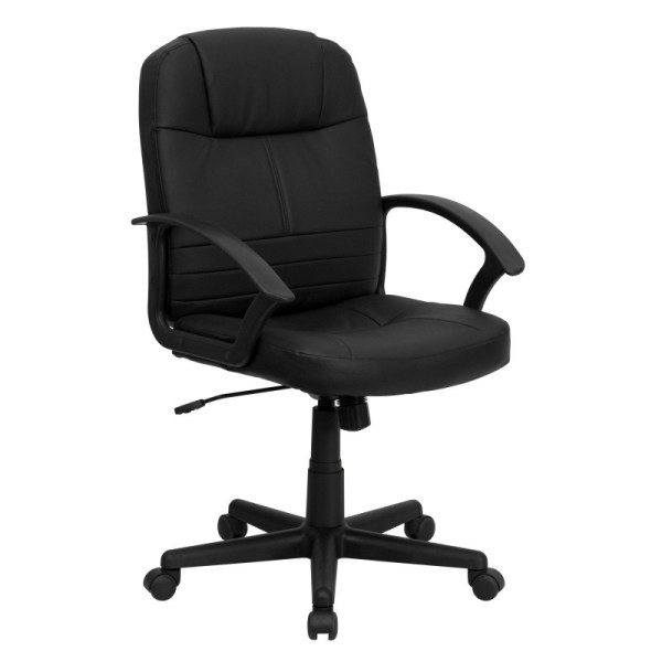 mid back office chair black Mid|Back Black Leather Executive Swivel Office Chair