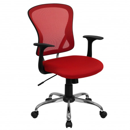 office chair red glides for metal chairs mid back mesh with chrome finished base