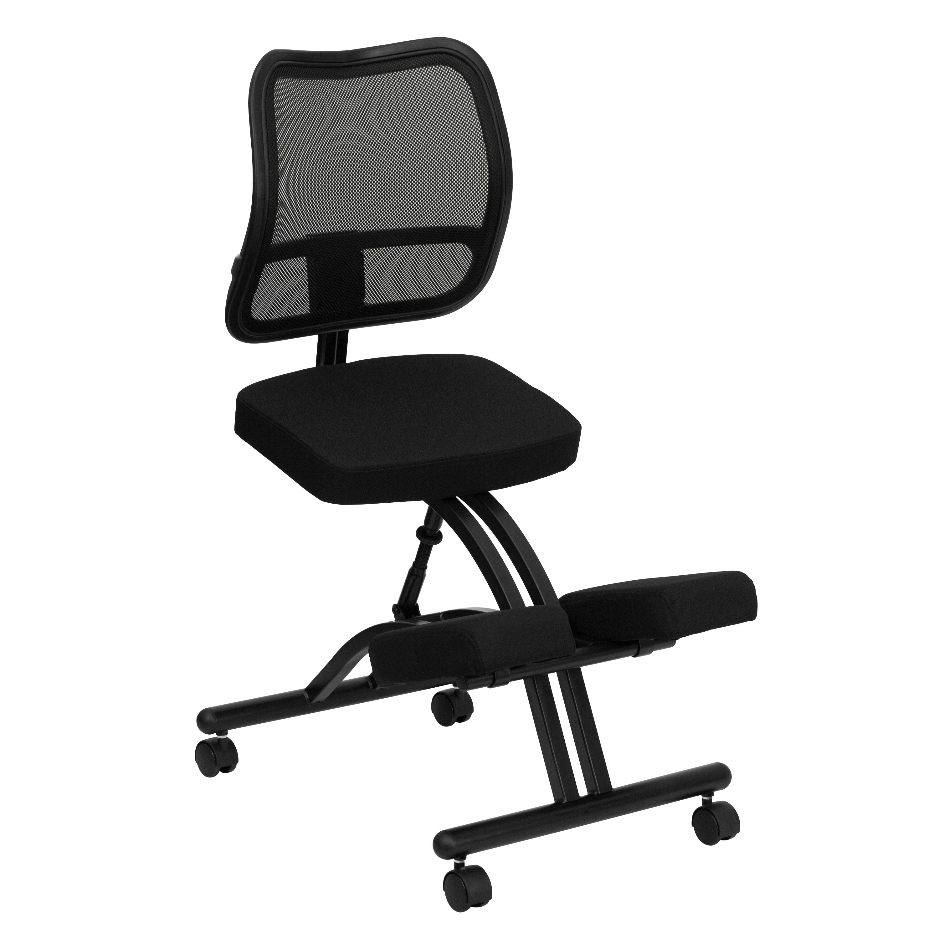 ergonomic chair kneeling review vinyl rocking chairs mobile with black curved mesh back and fabric seat jpg