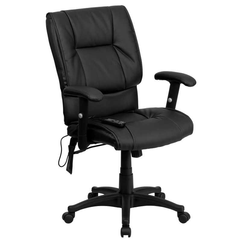 MidBack Massaging Black Leather Executive Office Chair