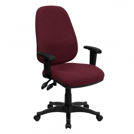 ergonomic computer chair office assembly high back burgundy fabric with height adjustable arms jpg