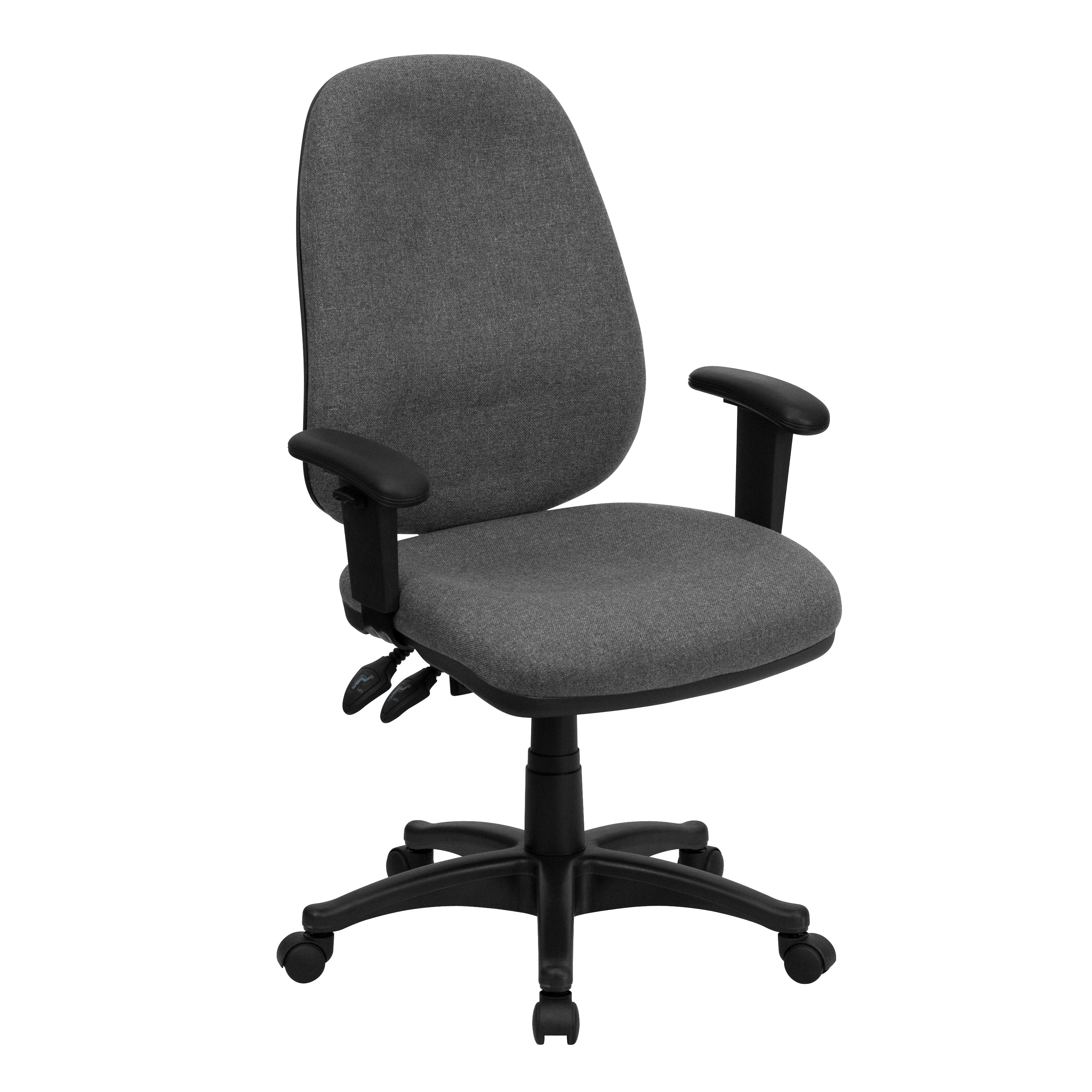 Task Chairs With Arms High Back Gray Fabric Ergonomic Computer Chair With Height