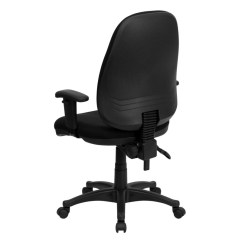Ergonomic Computer Chair Rolling Dining Chairs With Arms High Back Black Fabric Height Adjustable