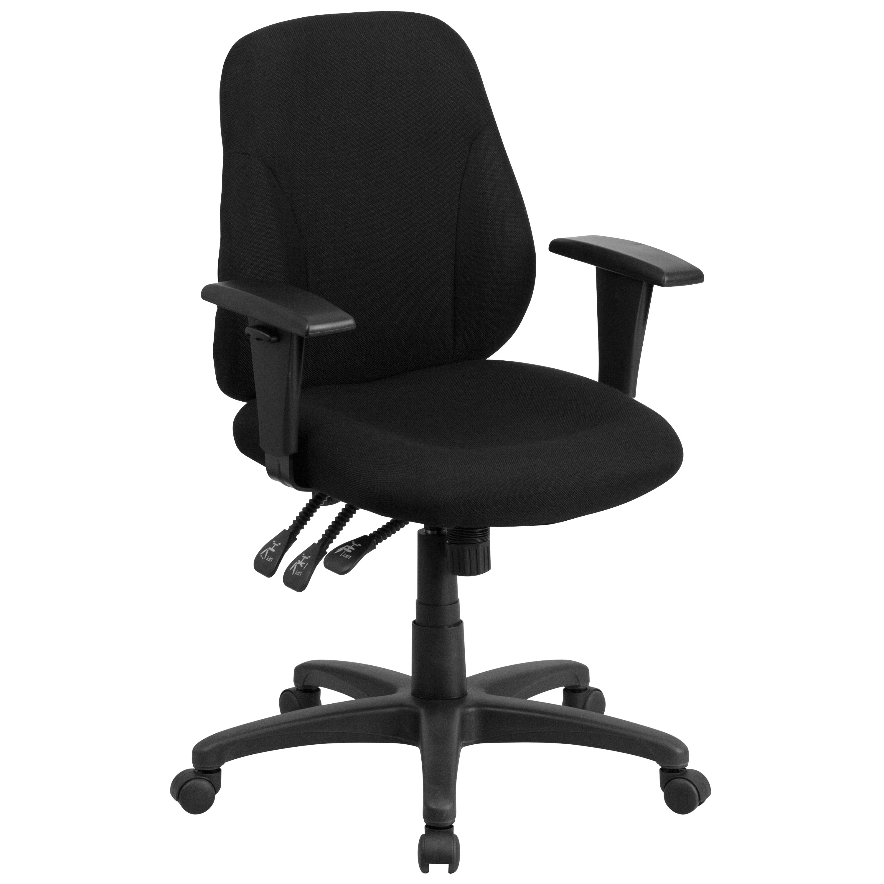 Height Adjustable Chair Mid Back Black Fabric Multi Functional Ergonomic Chair With Height