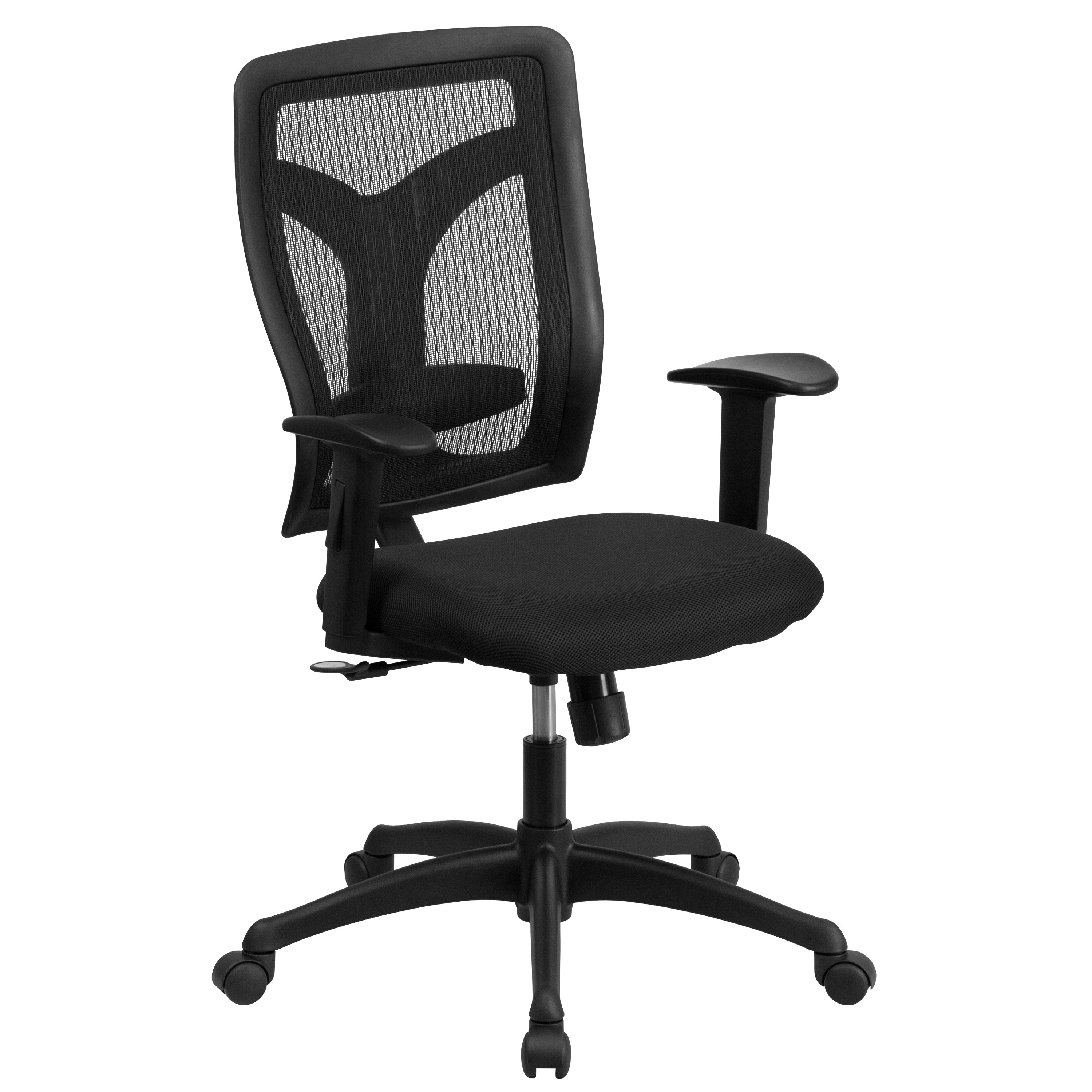 Task Chairs With Arms Galaxy High Back Designer Back Task Chair With Adjustable Height Arms And Padded Fabric Seat