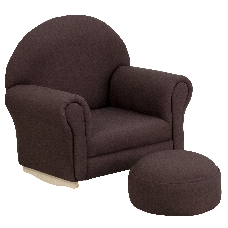 rocking chair footrest fold down high kids brown fabric rocker and jpg