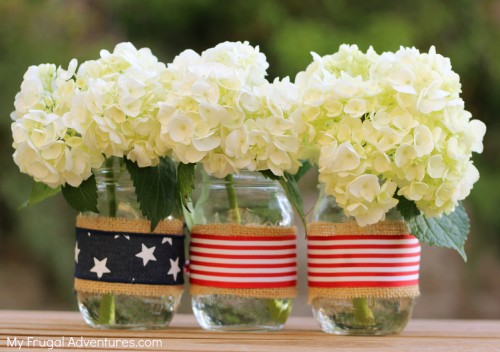 Patriotic Decorations Ribbon Mason Jar Flag Vase Stars And Stripes America United States USA Red White Blue 4th of July