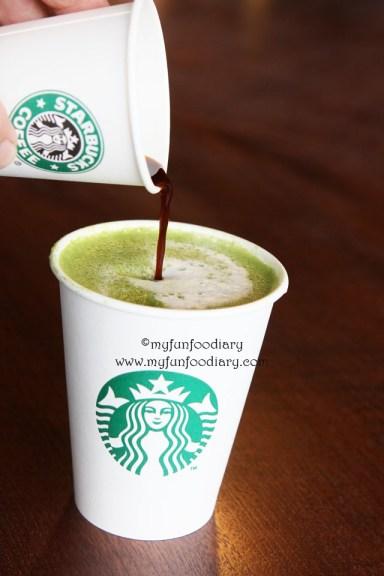 Hojicha Tea Latte + one shot Espresso