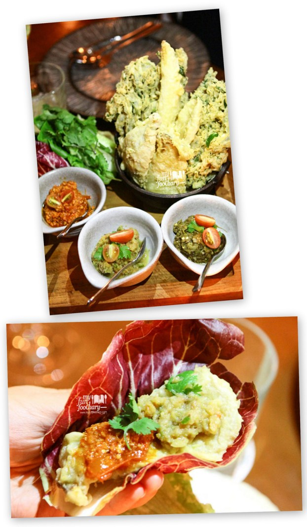 "Selection of Northern Thai Relishes with ""Nam Prik Ong"", ""Nam Prik Goong"", ""Nam Prik Num"" & Crispy Tempura Vegetables"