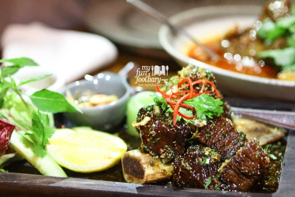 Twice-Cooked Beef Short Ribs with Sweet Fish Sauce, Cucumber & Nam Pla Prik