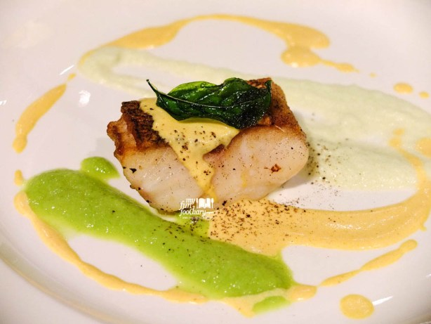 Grouper on Green and White Asparagus Puree with Bumbu Bali