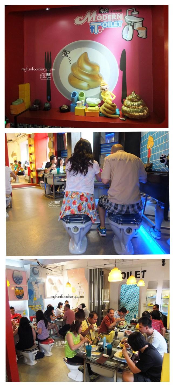 Suasana di dalam Modern Toilet Cafe Taiwan by Myfunfoodiary collage