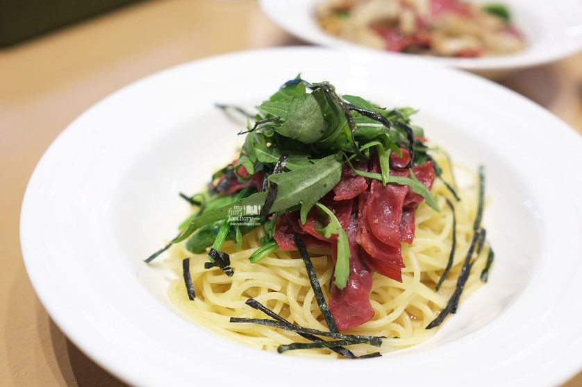 Wafu Soy Sauce Based Pasta with Smoked Beef, Spinach and Rucola at Popolamama Indonesia by Myfunfoodiary