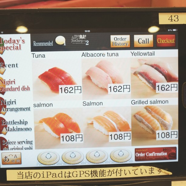 Some Sushi Menu available in English at Premium Sushi Train KAIO Sushi - by Myfunfoodiary