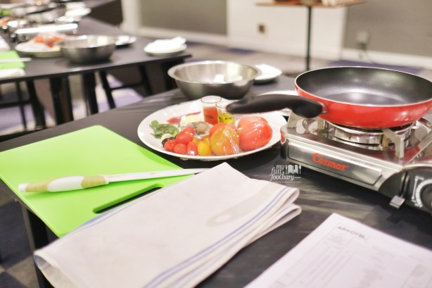 Preparation on the Table at our Cooking Class with Artotel Thamrin by Myfunfoodiary