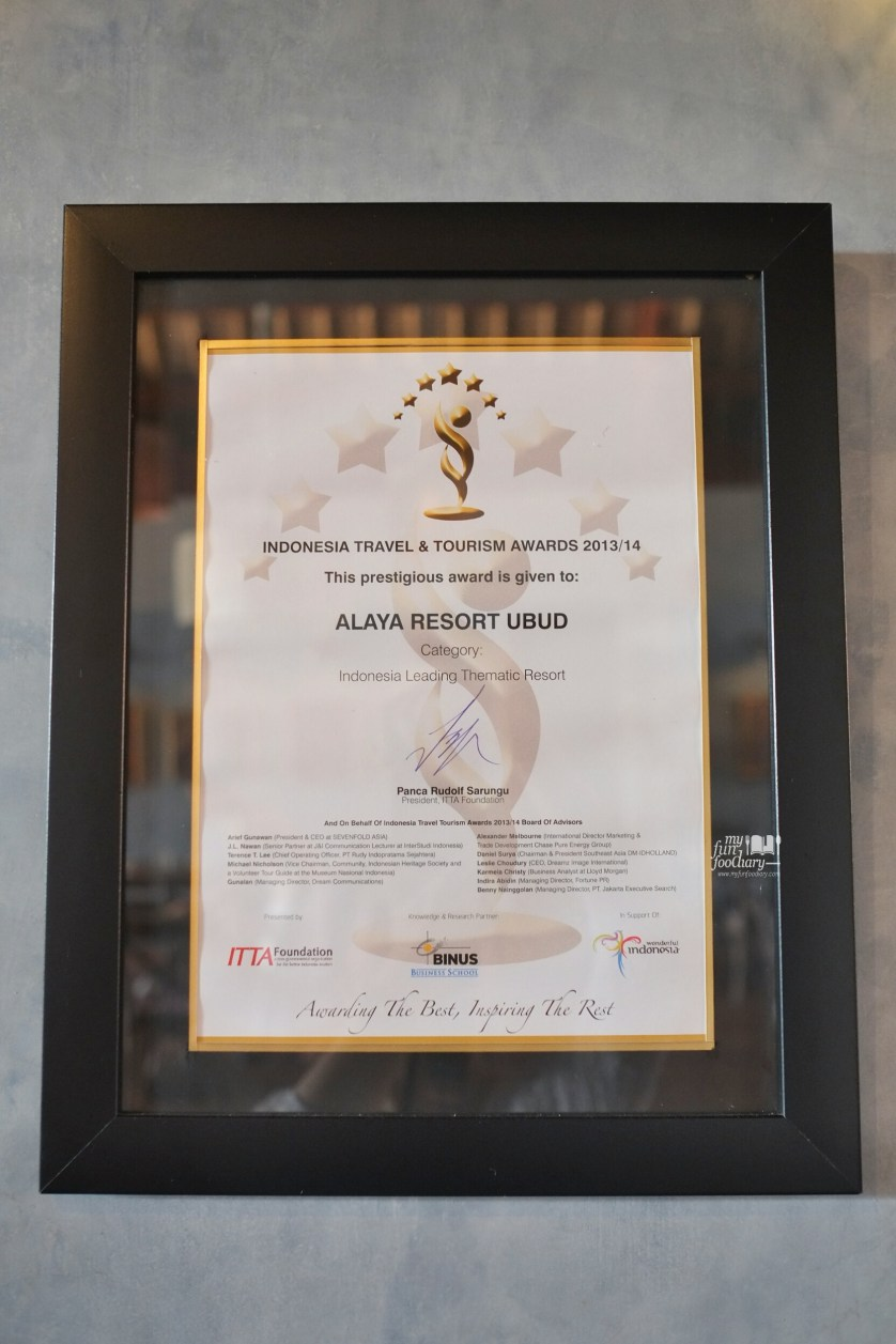 Alaya Resort Ubud Award - by Myfunfoodiary