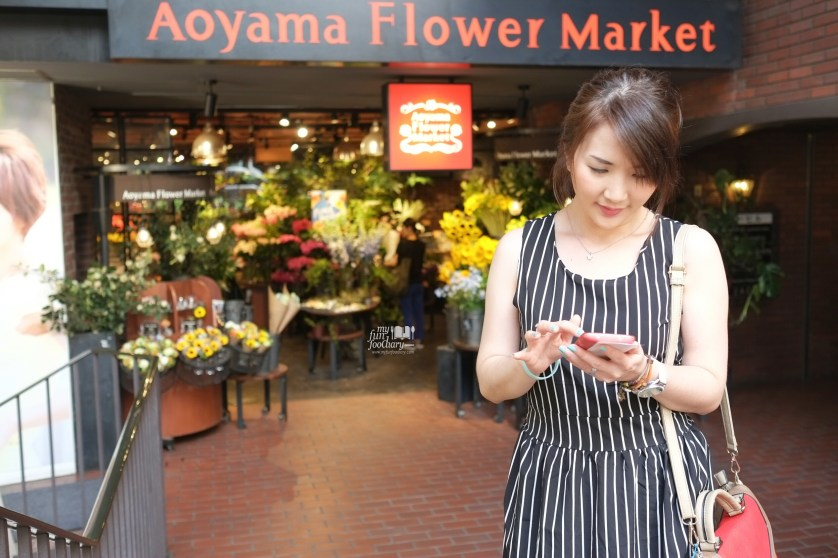 Written Our Trips on my mobile phone at Aoyama Flower Market in Tokyo Japan by Myfunfoodiary