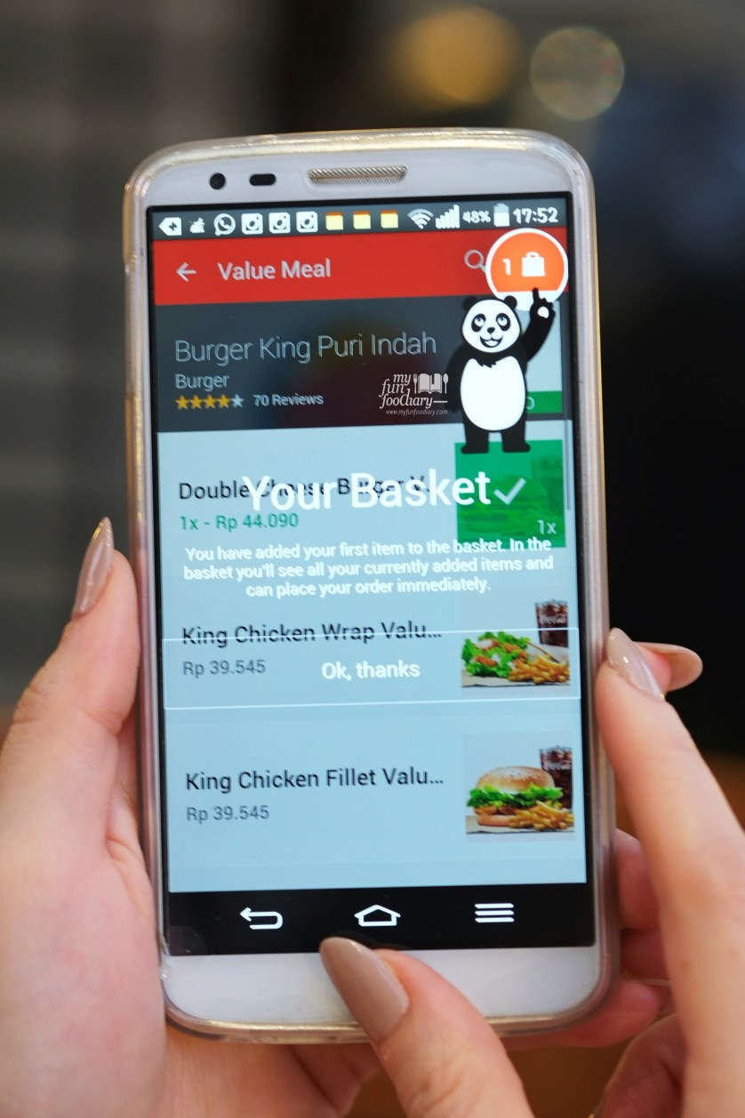 Done Order at Burger King in foodpanda apps by Myfunfoodiary