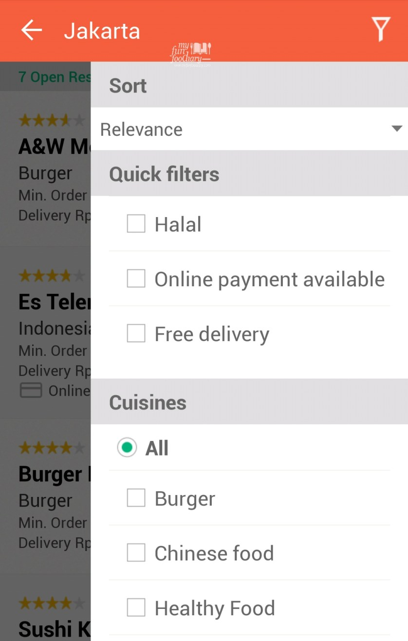 Fitur Filter aplikasi foodpanda by Myfunfoodiary