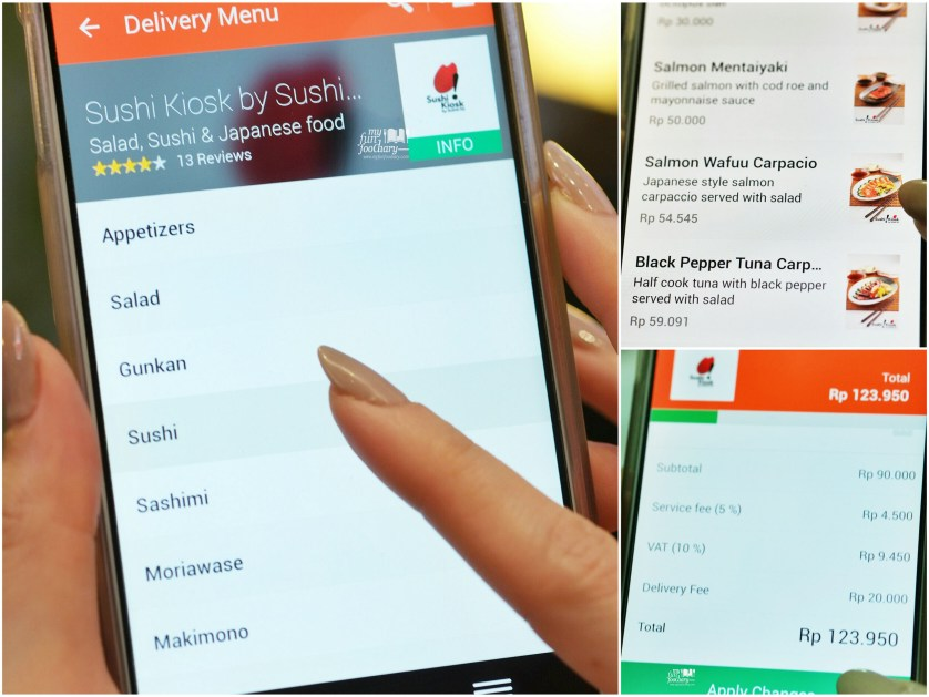 Ordering Sushi Kiosk in foodpanda apps by Myfunfoodiary
