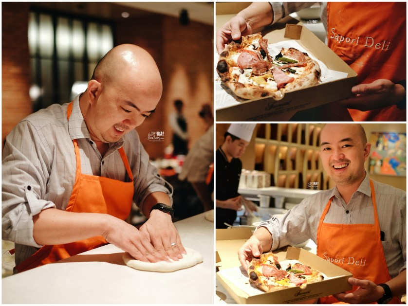 My husband Andy Handoko with his Pizza creation at Sapori Deli by Myfunfoodiary
