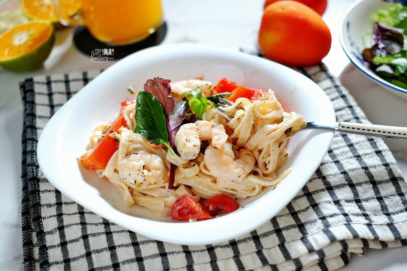 Roast Prawn Fettuccine with Ricotta Cheese by Myfunfoodiary