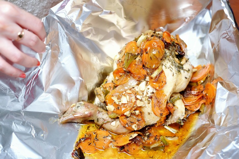 Wrap the Chicken with alumunium foil by Myfunfoodiary