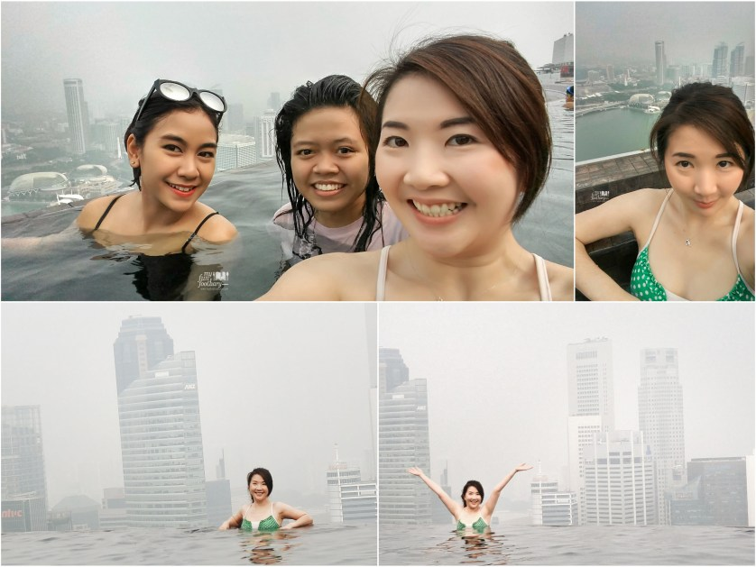Anisa Listy and Me had fun together in the Infinity Pool at the rooftop of Marina Bay Sands by Myfunfoodiary
