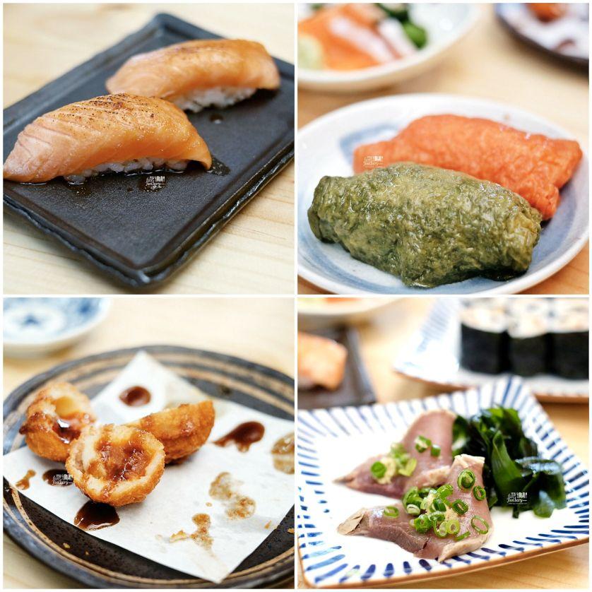 Salmon Aburi Sushi - Ocha Inari & Apple Inari - Katsuo Tataki Sashimi - Potato Ball at Nama Sushi by Myfunfoodiaryedit